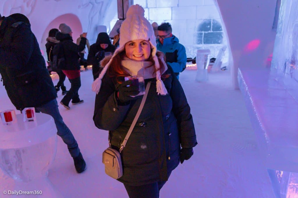 Enjoy a cocktail inside the Quebec City Ice Hotel