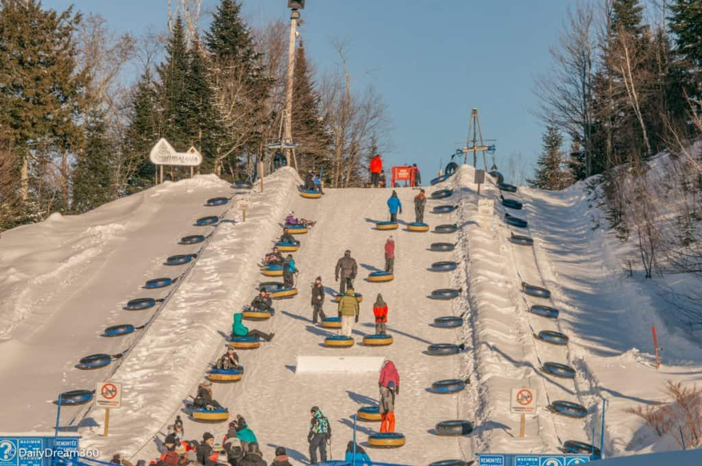 Snow tube hill in Village Valcartier Quebec
