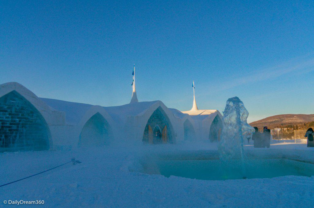 Outside view of Quebec City Ice Hotel and water fountain