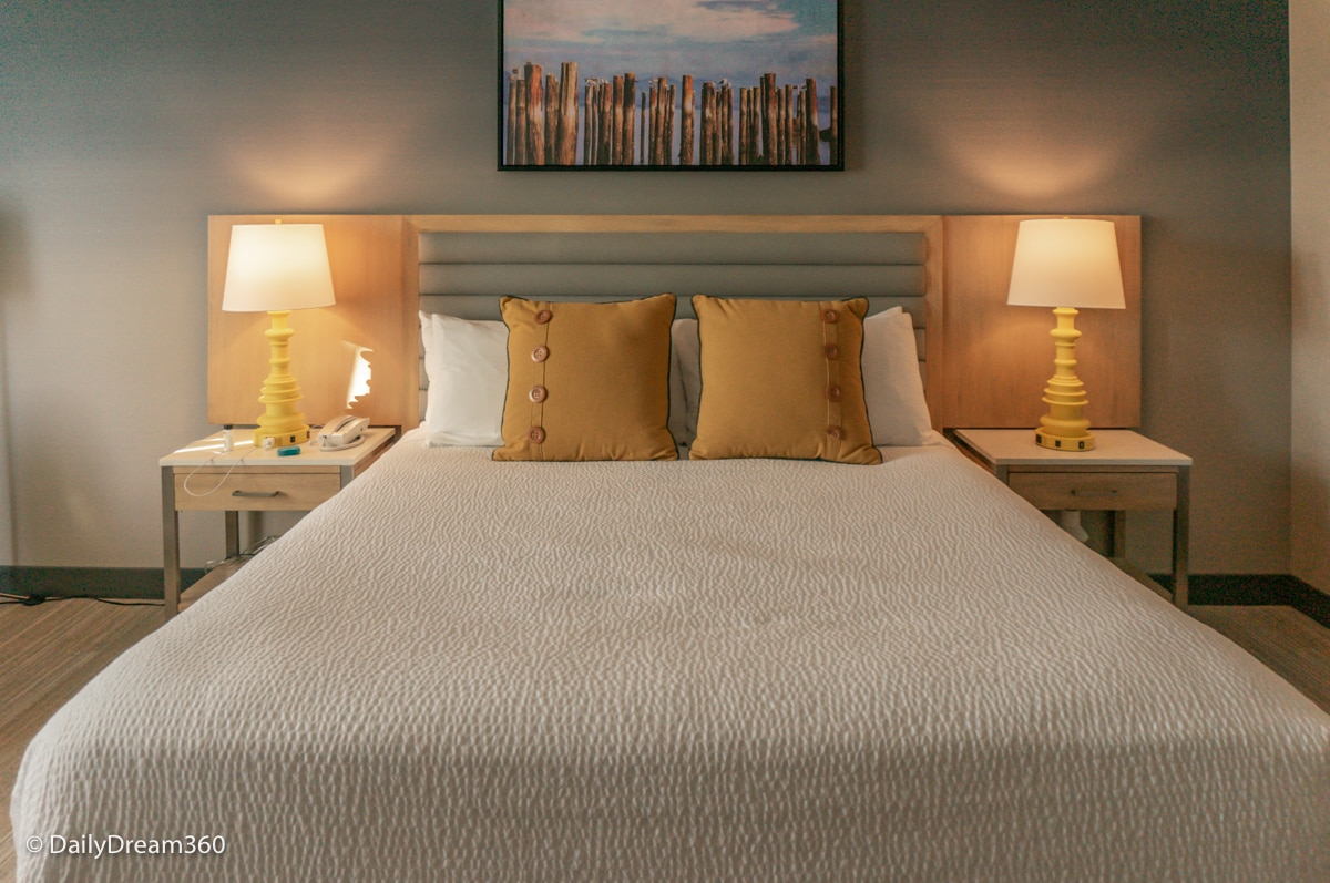 King size bed at Inn at the Pier Pismo Beach CA