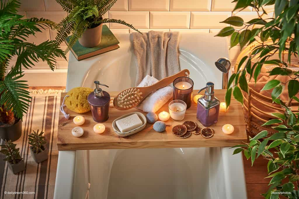bath tub caddy with candles in DIY home spa set up