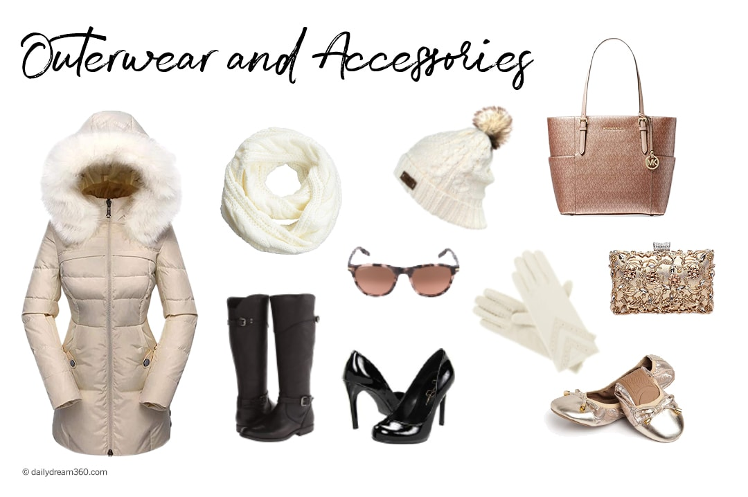 Outerwear and accessories 7 day winter packing list