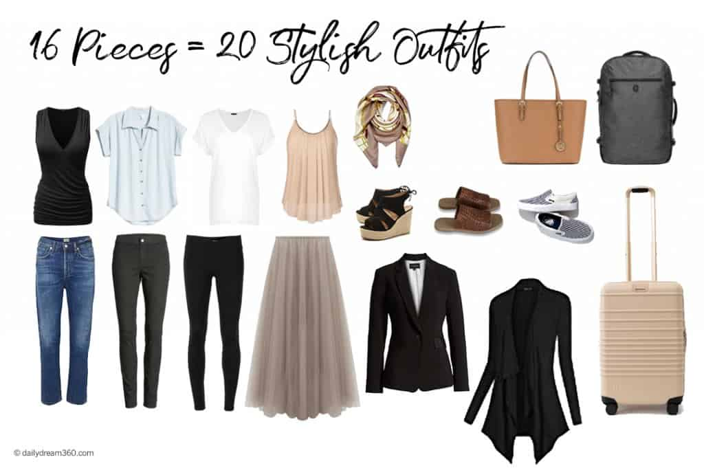 How 16 items of clothing can turn into 20 outfits.