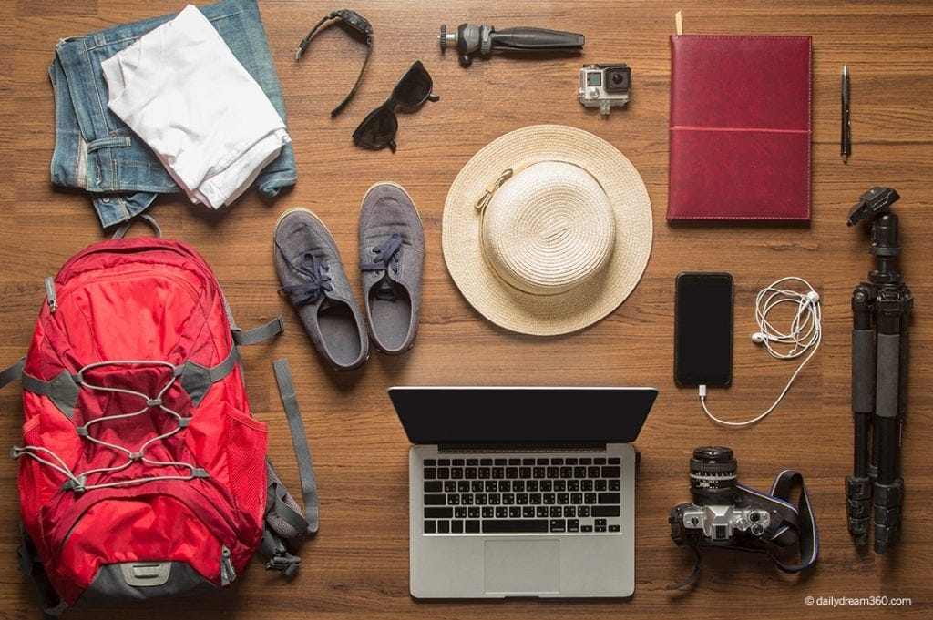 mens travel items spread out over wood floor