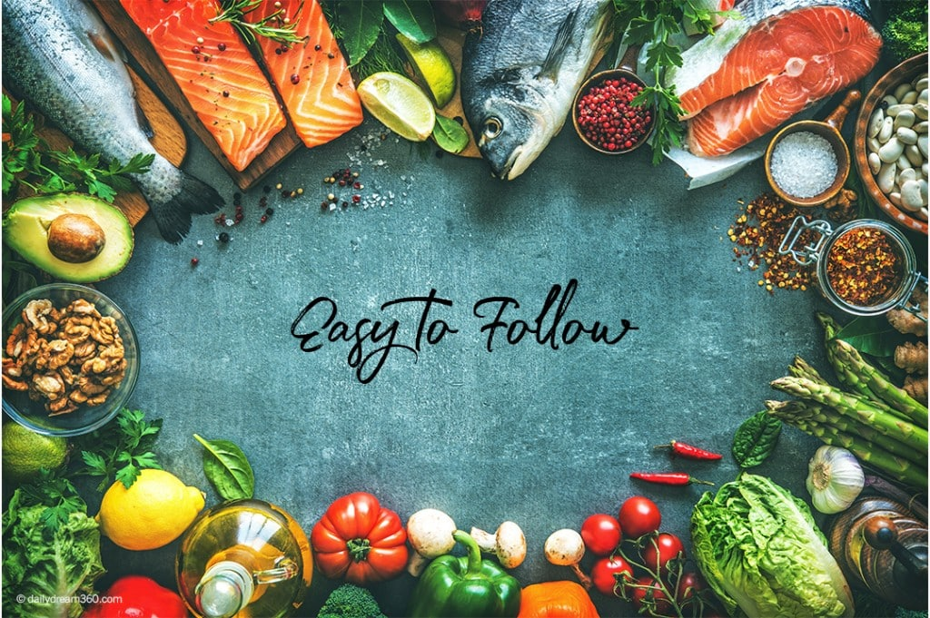 easy to follow surrounded by healthy ingredients