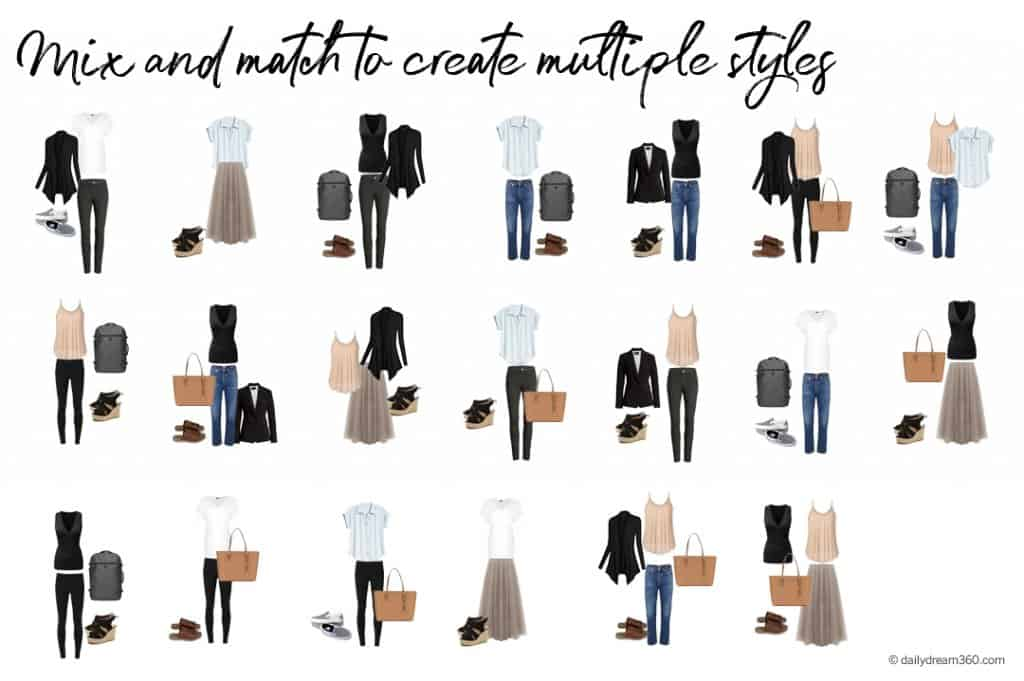 Mix and Match capsule wardrobe for travel