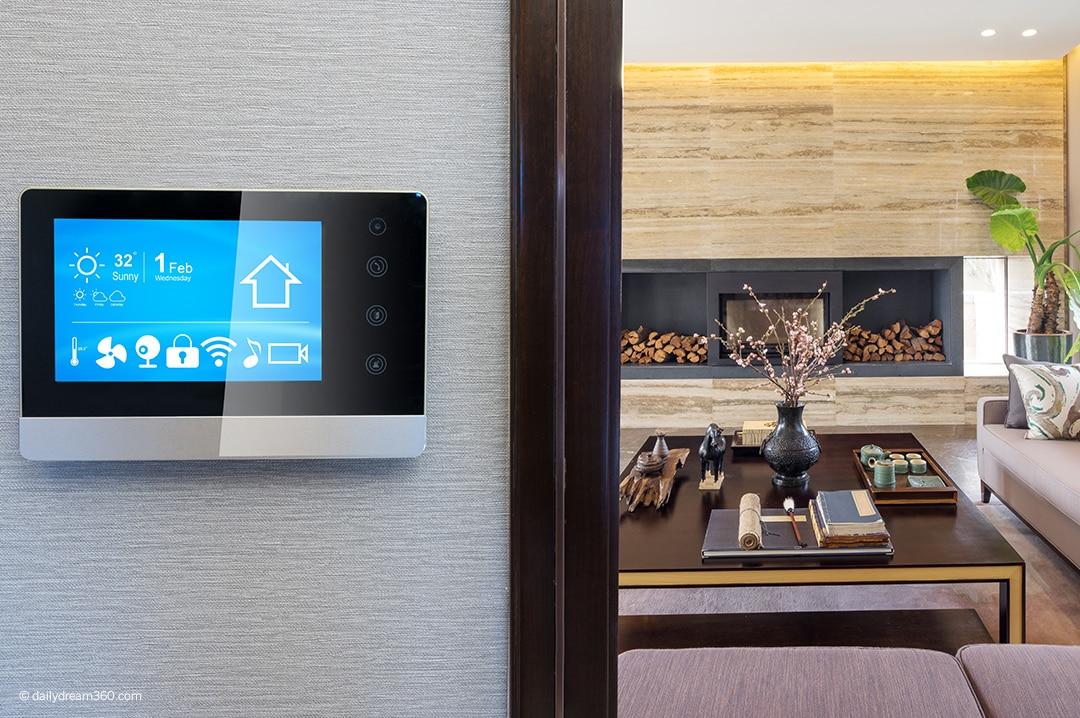 Smart home panel on wall