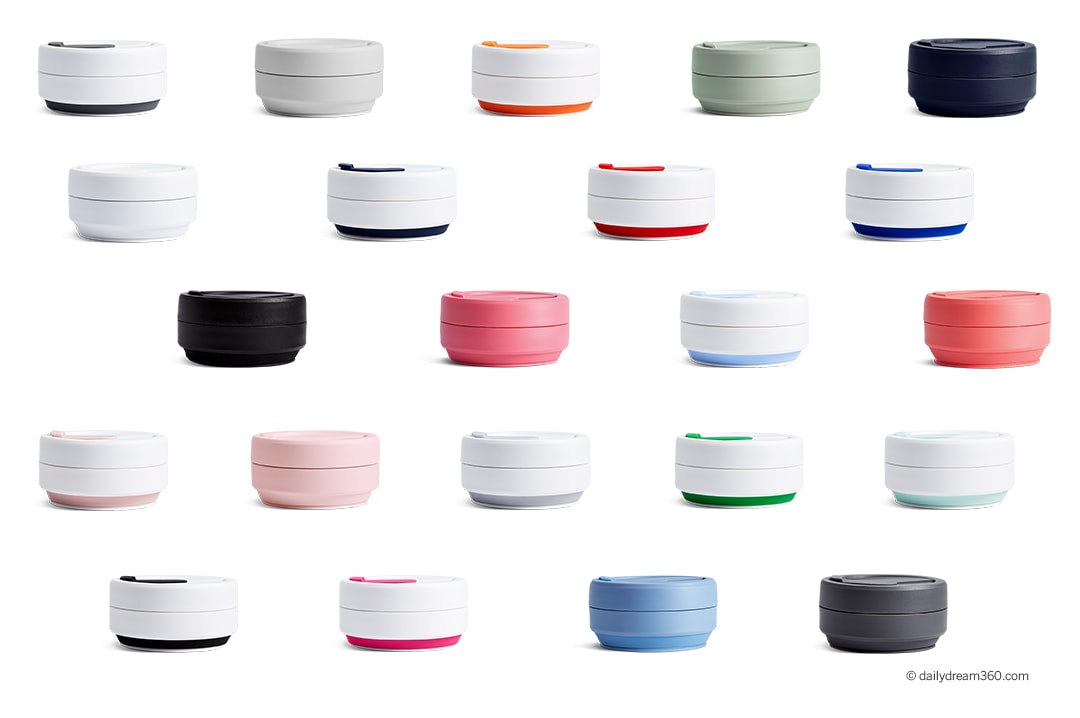 collapsed stojo coffee cups many colours