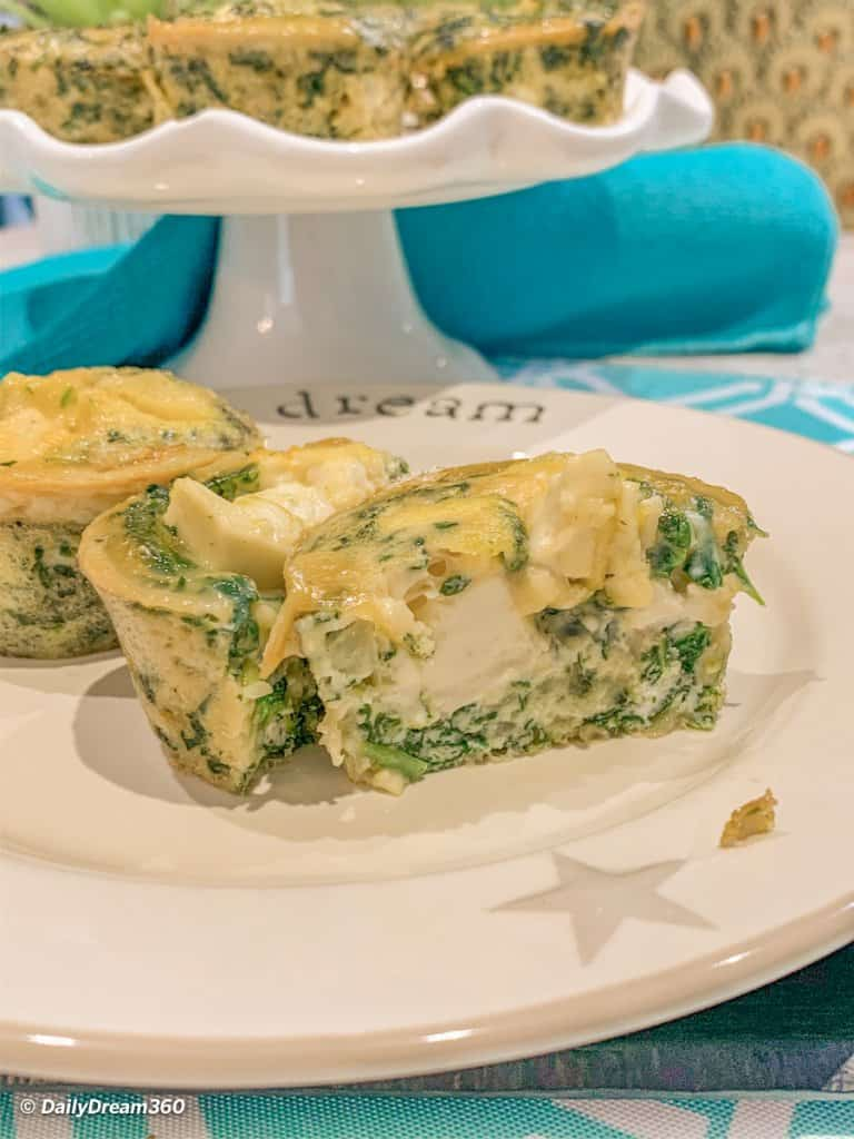 spinach egg bite with laughing cow cheese