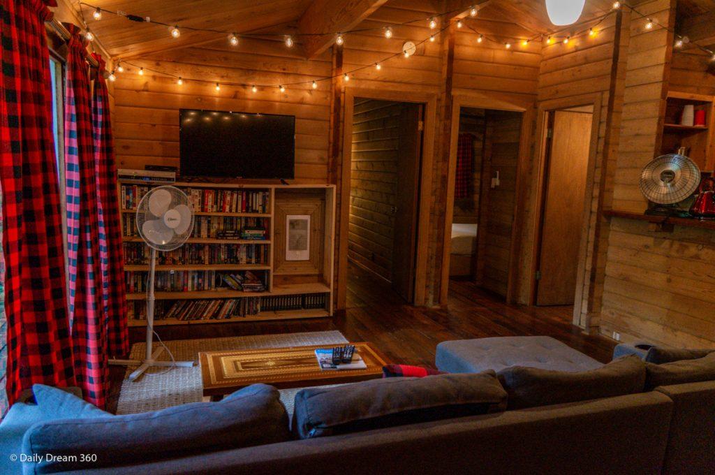 Living area  of Muskoka Beer Spa cabin 7