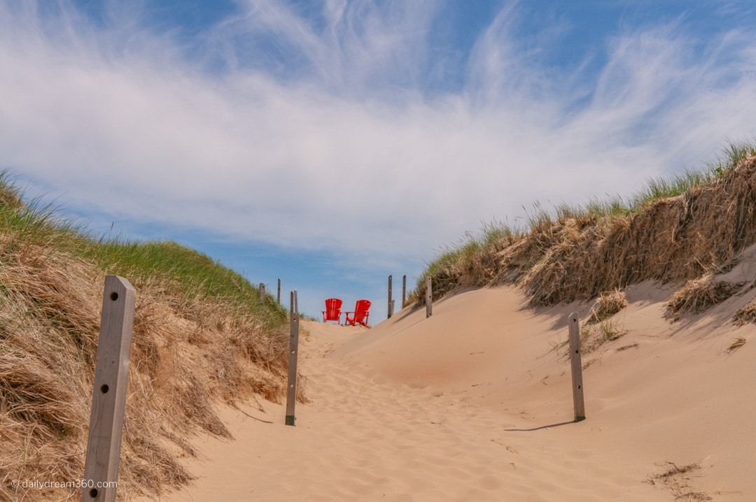 Famous red chairs in PEI National Park