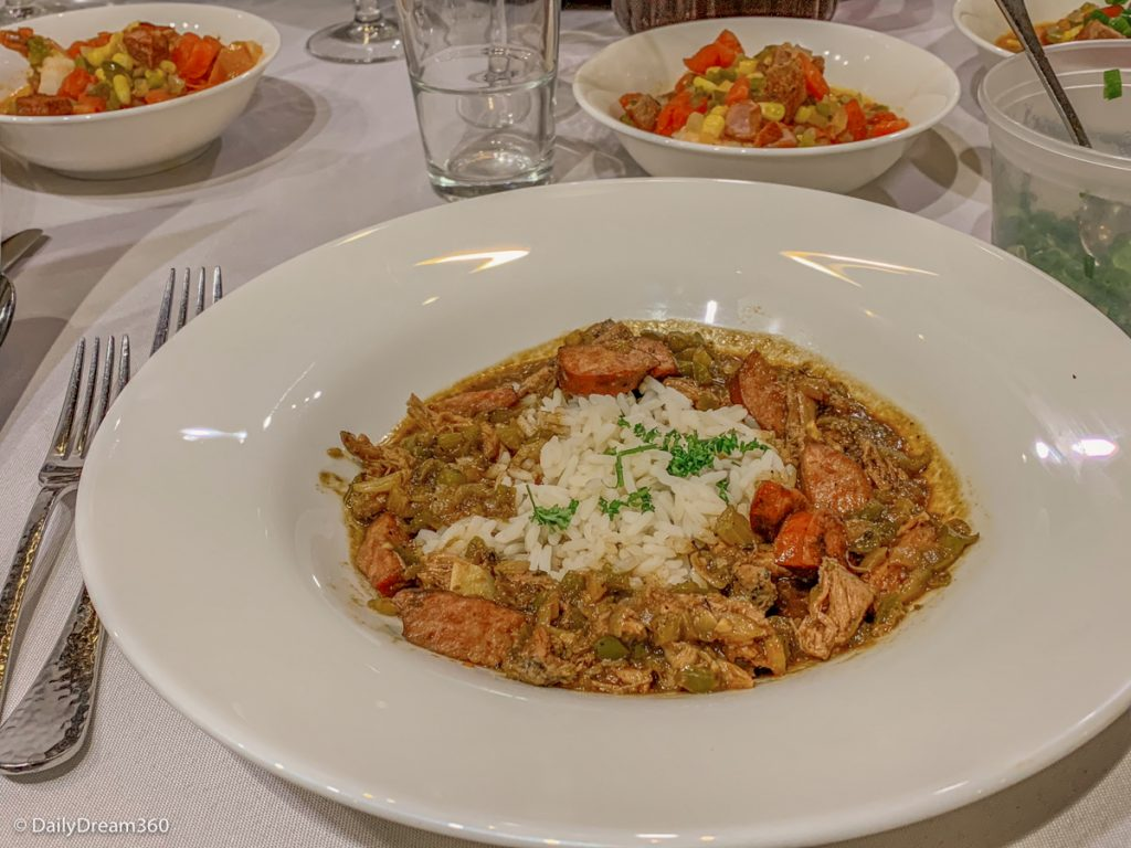 Dinner created at New Orleans School of Cooking