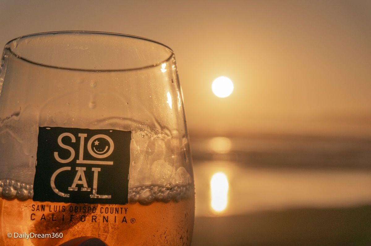 California wine at Sunset at Oceano Dunes State Park