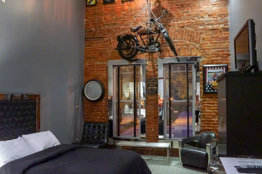 Harley Davidson room at the Retro Suites Hotel in Chatham Ontario