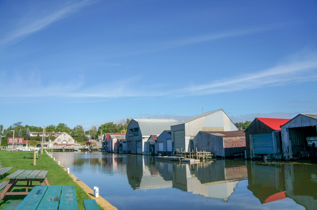Boat houses on lake Erie in Norfolk County Ontario