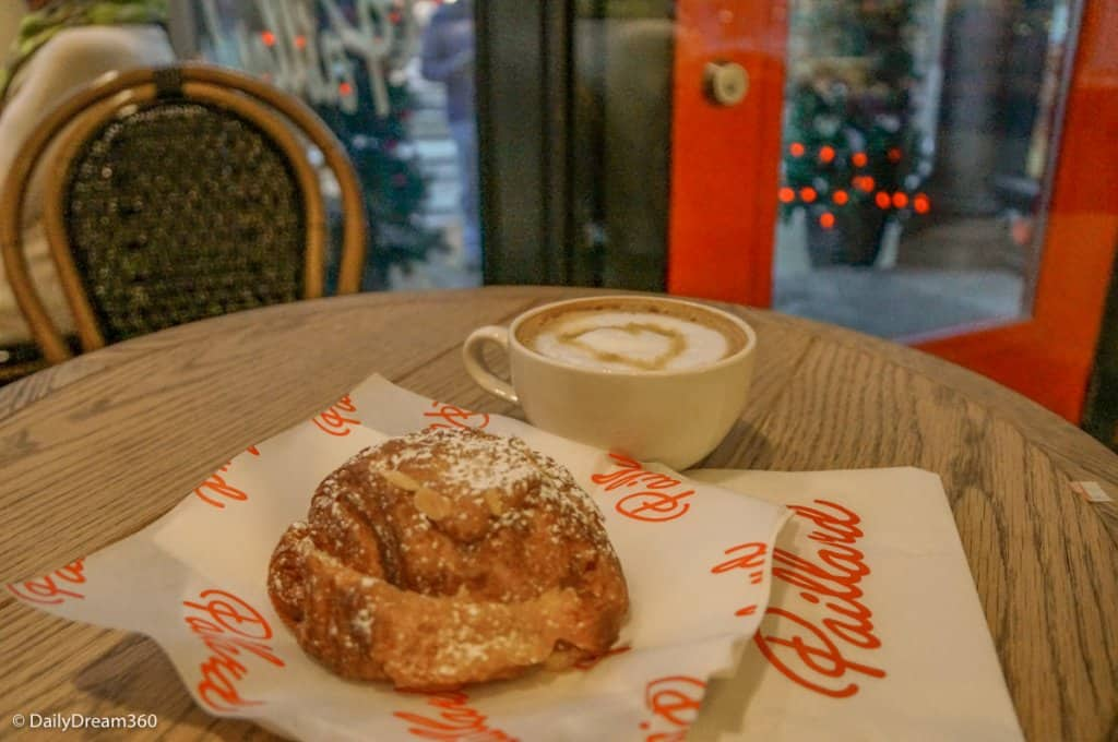 pastry and coffee on table at Paillard Quebec City