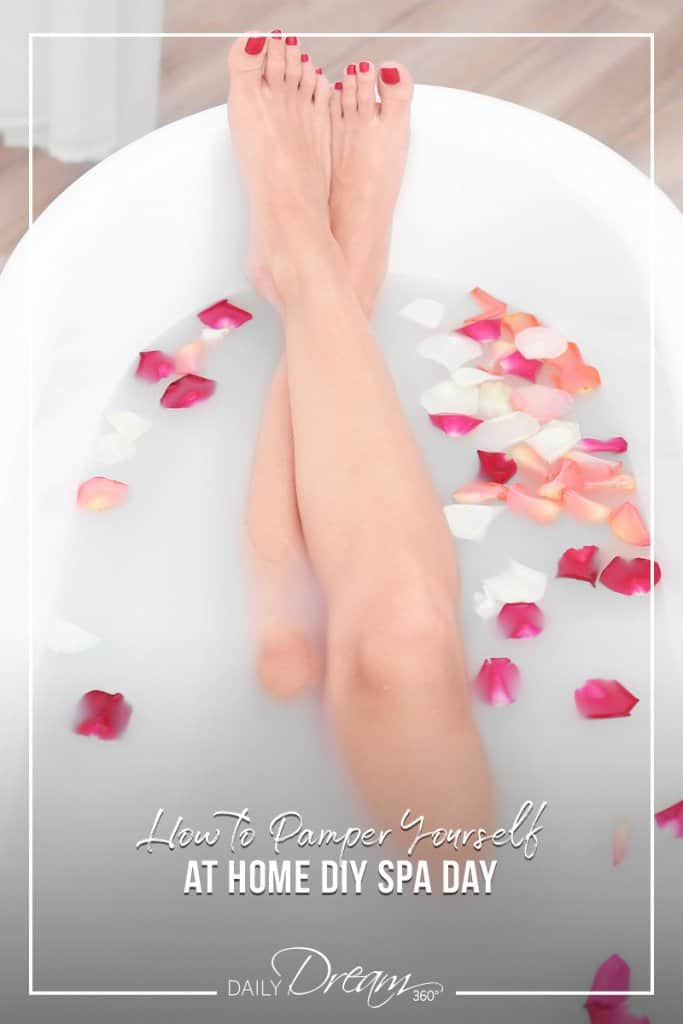 Women in bath with flower petals and text How to Pamper Yourself at Home DIY Spa Day