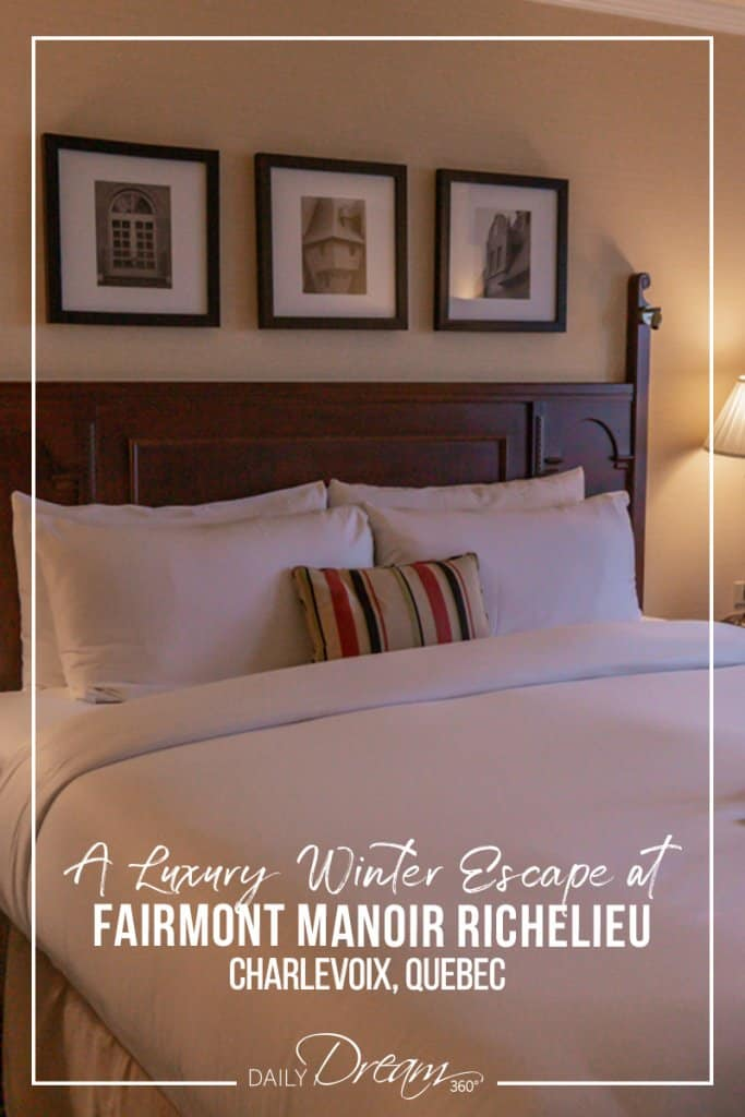 Bed in room at Fairmont Manoir Richelieu Charlevoix Quebec.