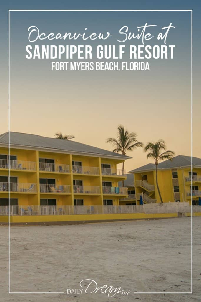 view of Sandpiper hotel Florida at sunrise from the beach