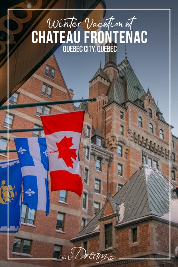 Flags hanging in front entrance of Fairmont Chateau Frontenac