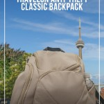 Travelon anti-theft Classic Backpack with CN Tower in background