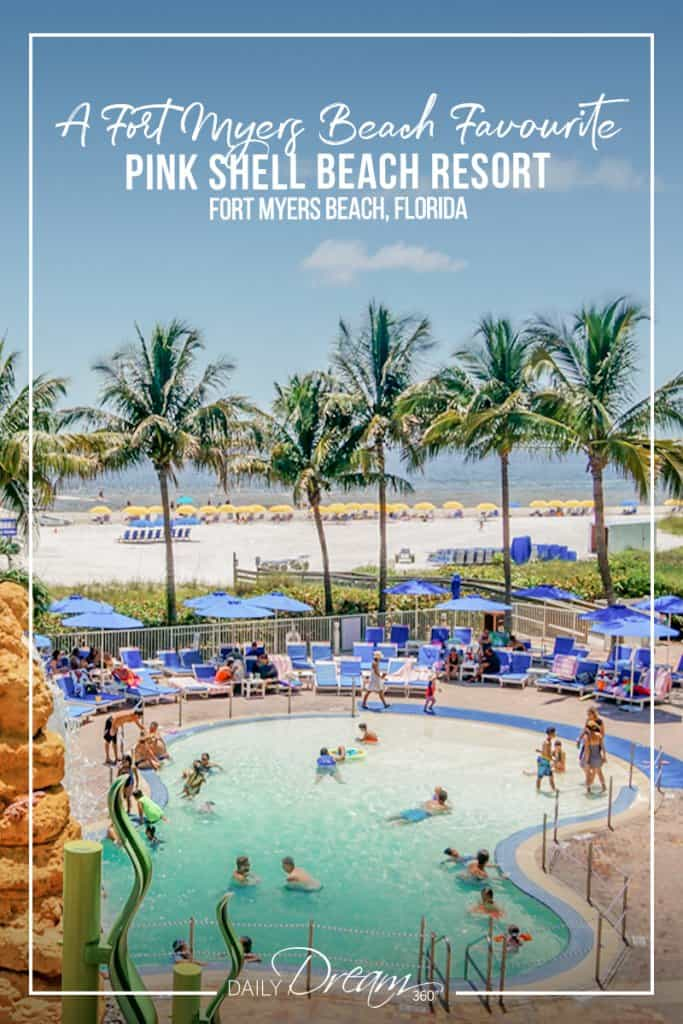 Fort Myers beach area behind main pool at Pink Shell Beach Resort