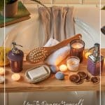 bath tub caddy with candles in DIY home spa set up with text How to Pamper Yourself at Home DIY Spa Day