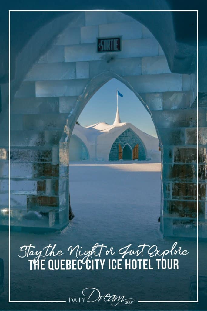 View out chapel door to Quebec Ice Hotel main building