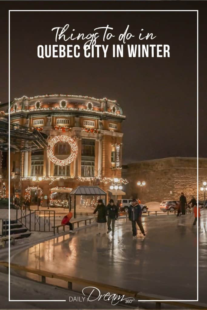 People skating at night in Quebec City in winter