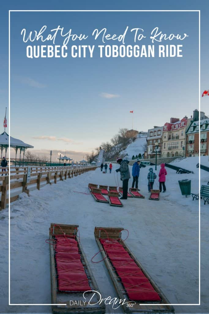 Two sleds wait at bottom of Quebec City Toboggan Ride