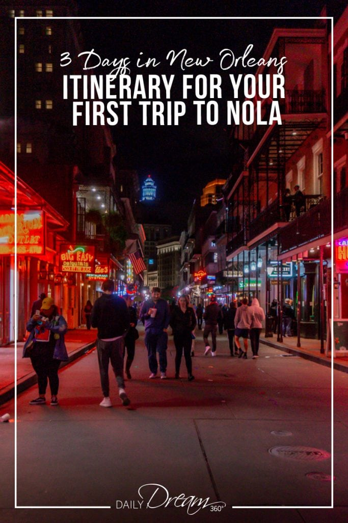 Bourbon street at night in New Orleans