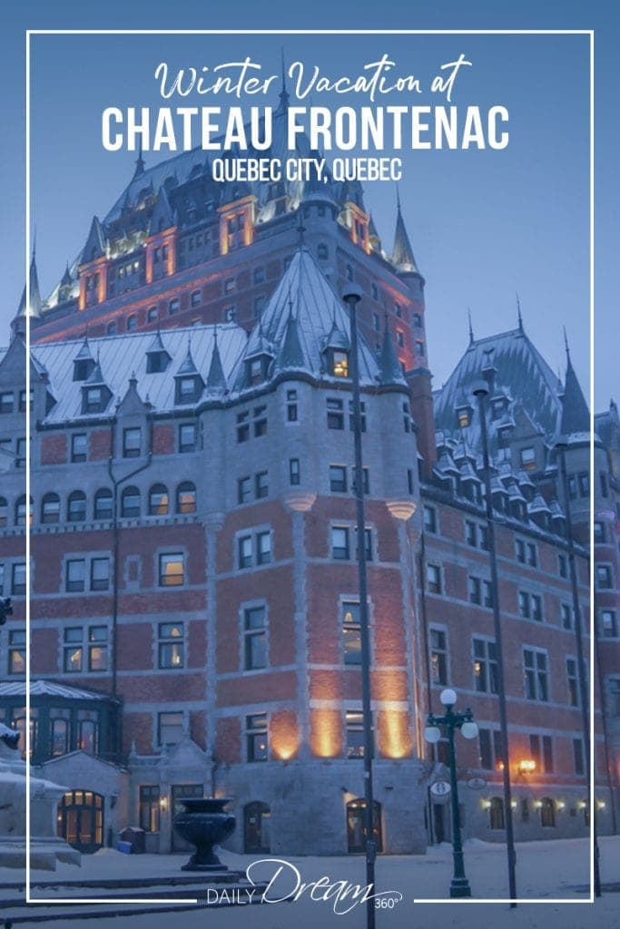 Partial view of Fairmont Chateau Frontenac in Quebec City in snow