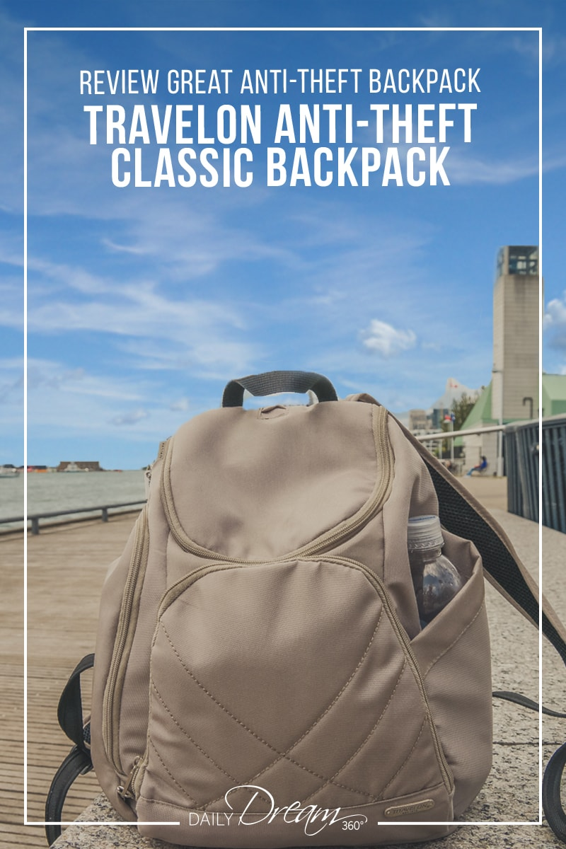 Travelon Classic Backpack sits on boardwalk in Toronto