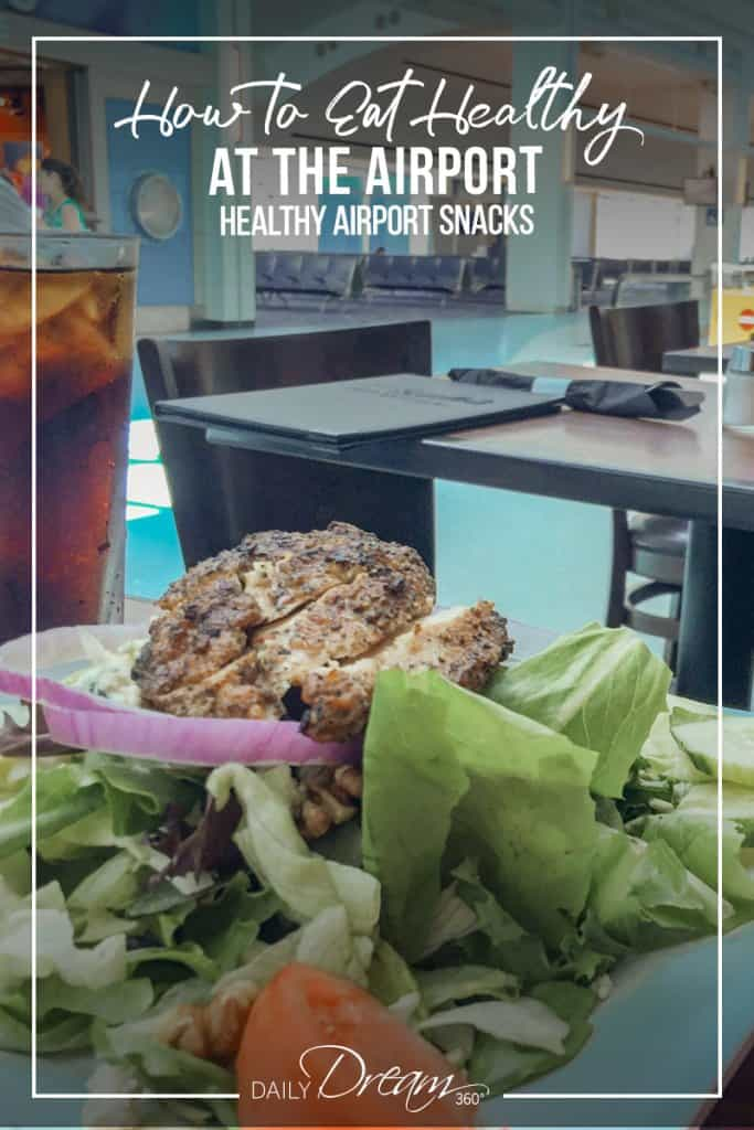 Healthy salad on table in airport