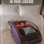 Travelon bag open on hotel bed with packing cubes inside