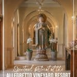 Incredible art piece sitting in front of arch window at Allegretto Vineyard Resort Paso Robles California