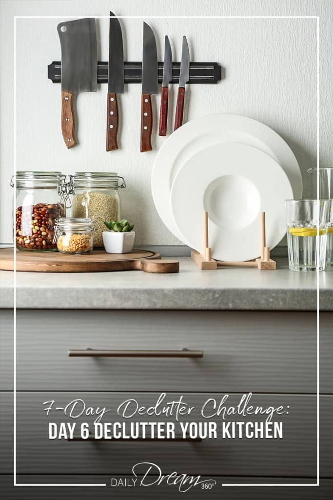 Organized kitchen countertop with words 7 Day Declutter Challenge: Day 6 Declutter Your Kitchen