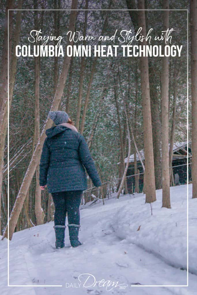 Sharon Mendelaou standing in forest with Columbia Omni heat jacket and boots