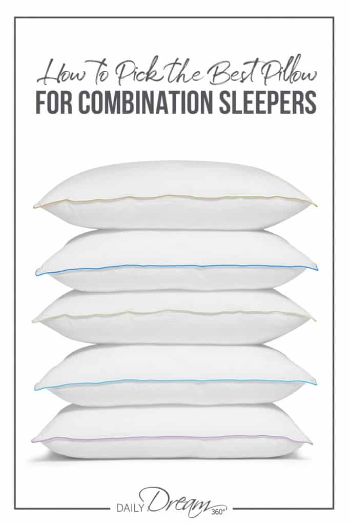 Stack of pillows with text How to Pick the Best Pillow for Combination Sleepers
