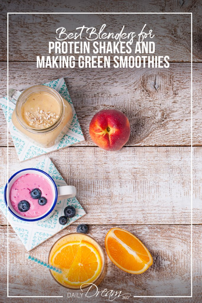 Smoothie drinks on wooden background with text best blenders for protein shakes and making green smoothies