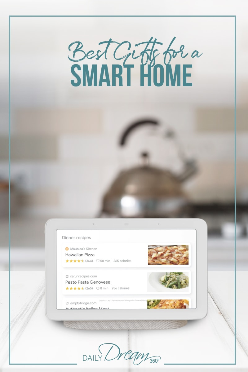 Google hub on counter in kitchen
