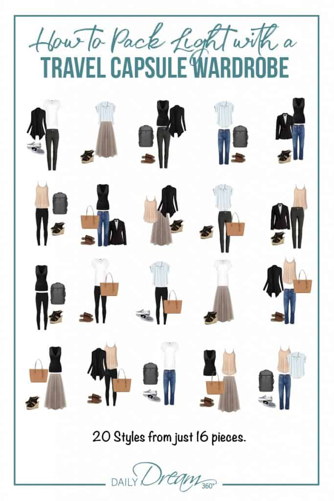 20 travel outfits from 18 packed items How to Pack Light with a Stylish Capsule Wardrobe for Travel