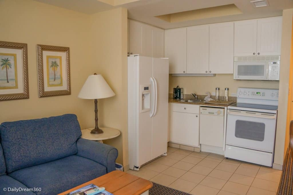 Kitchen and Living room in Studio at Pink Shell Beach Resort