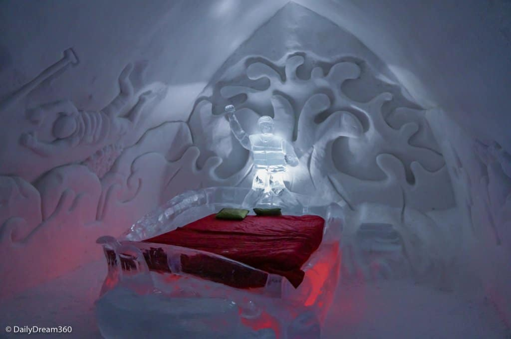 carved ice bedroom in Quebec City Ice Hotel