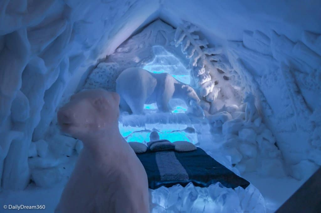polar bear room in Quebec City Ice Hotel