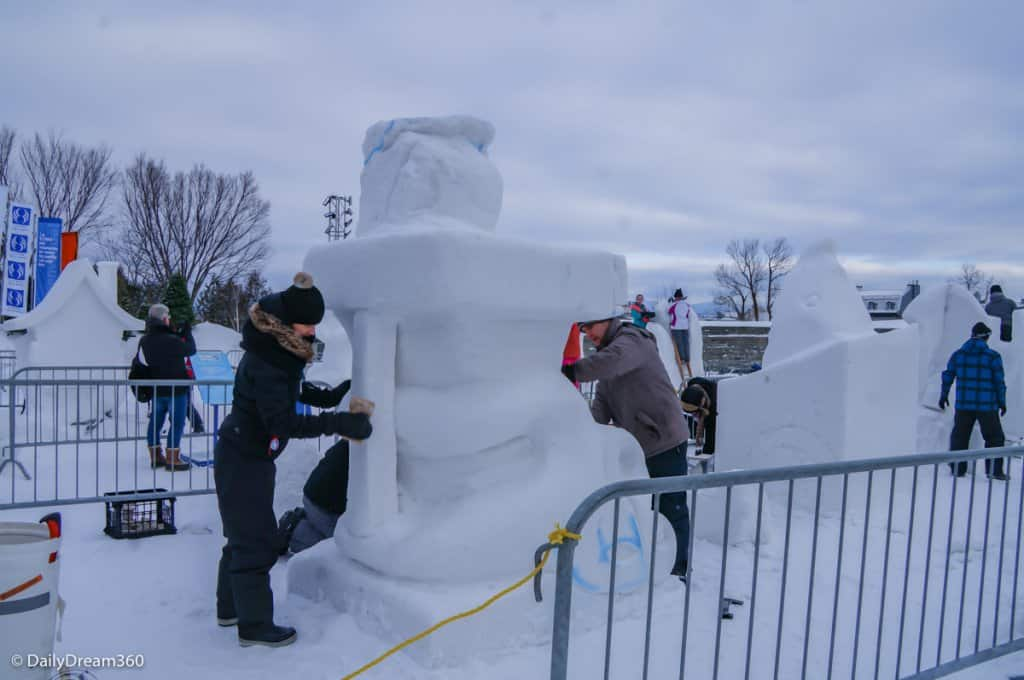 Ice Sculpting competition in Quebec City Winter Carnival