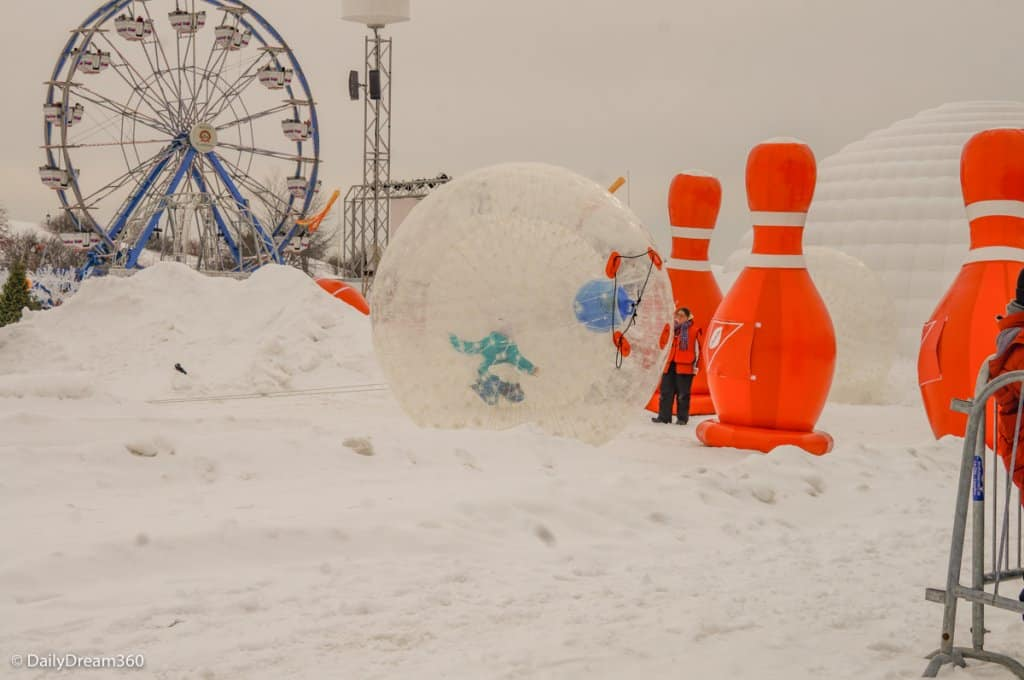 Snow bowling at Quebec City Winter Carnival