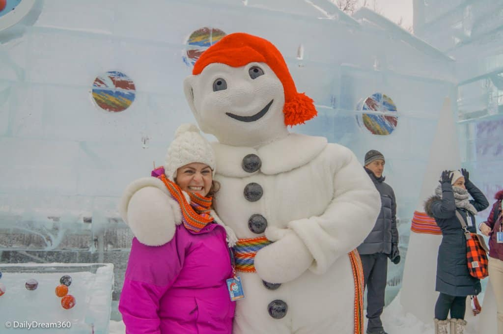 Meeting Bonhomme at Quebec Winter Carnival
