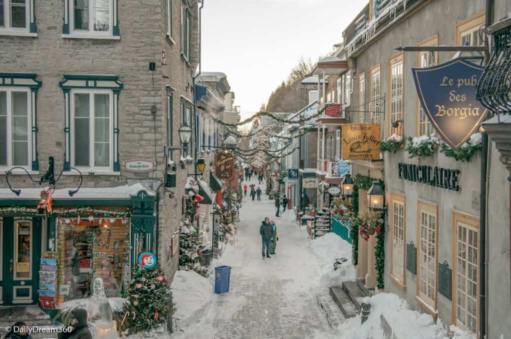 Petit Champlain Village in Winter Quebec City