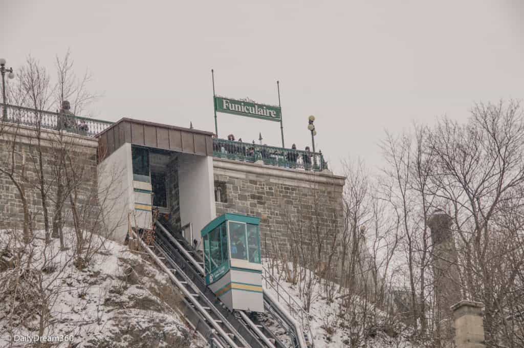 Funicular in Quebec City in Winter